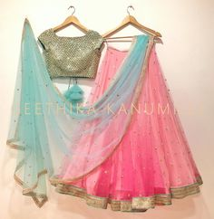 Love these colors and the style ! Would prefer the scarf to be solid and not so sheet . Beautiful blush pink color lehenga with gold color blouse from Geethika Kanumilli. Half Saree Lehenga, Blue Lehenga, Lehnga Dress, Bridal Lehenga, Wedding Lehanga, Anarkali Kurti, Lehenga Blouse, Saree Wedding, Wedding Dress