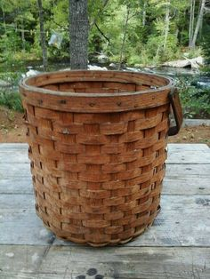 Antique Round Oak Splint Basket Handle Primitive Folk Art Country Cottage Chic | eBay