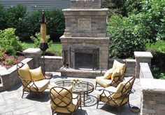 outdoor fireplace, patio, seat wall, Unilock