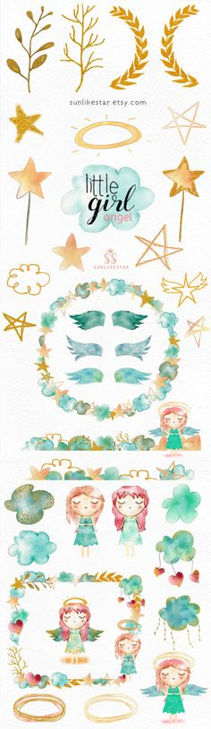 Angel Digital Watercolor Glitter Clipart | Little Girl: Angel | glitter clipart, sky, clouds, star, baptism clipart, cute, baby, girl, wings