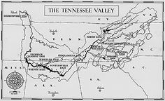 This is a map of the TVA. This map shows all the dams that the TVA had created to generate power for the country. The First 100 Days, Tennessee Valley Authority, Work Camp, State Of Grace, Franklin County, Old Maps, Us History, Interesting History, Alabama