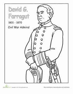 Enjoy coloring a historic figure with your little one. She'll meet David G. Farragut, an admiral in the Civil War, and just one of many important figures from the Hispanic-American community. Social Studies Worksheets, 2nd Grade Worksheets, Writing Worksheets, Hispanic History Month, Hispanic Heritage Month, Rose Coloring Pages, Coloring Books, Famous Hispanic Americans, Famous Hispanics