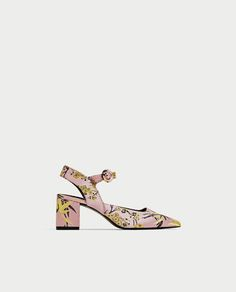 EMBROIDERED KITTEN HEEL SLINGBACK SHOES