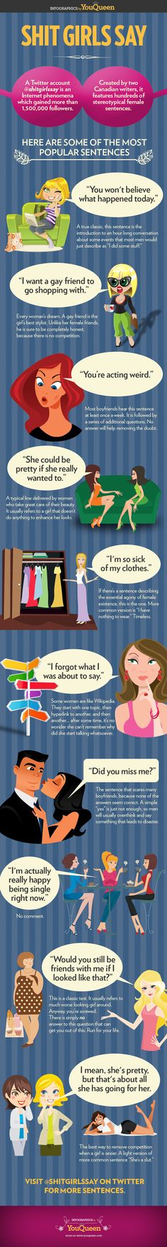 Shit Girls Say (INFOGRAPHIC) - most popular stereotypical female sentences. Inspired by @ShitGirlsSay Twitter account, made by YouQueen magazine. #Infographic