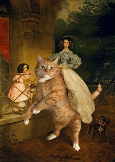 Would you ever dreamt of riding on your huge cat? We remember that once We kindly gave Our large back to a young lady, who was posing for the painting by Karl I Love Cats, Crazy Cats, Cool Cats, Huge Cat, Paintings Famous, Famous Art, Art Paintings, Gatos Cats, Ginger Cats