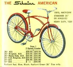 The Schwinn American Old Bicycle, Bicycle Women, Old Bikes, Bicycle News, Vintage Advertisements, Vintage Ads, Zwift Cycling, Recumbent Bicycle, Bicycle Workout