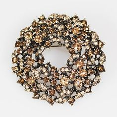 JS Tw0 Dozen Brown Crystal Wreathe Brooches (24)