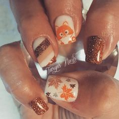 will have to try out nail designs this fall; Fall nails fall … - Beauty Tips & Tricks Fall Nail Art Designs, Flower Nail Designs, Acrylic Nail Designs, Fall Acrylic Nails, Autumn Nails, Winter Nails, Fox Nails, Thanksgiving Nail Art, Fingernail Designs