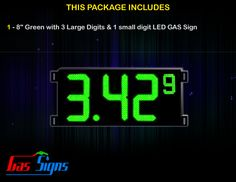 8 Inch Gas Price LED Sign (Digital) Green with 3 Large Digits & 1 small digit with housing dimension H293mm x W590mm x D55mmand format 8.88 9 comes with complete set of Control Box, Power Cable, Signal Cable & 2 RF Remote Controls (Free remote controls).