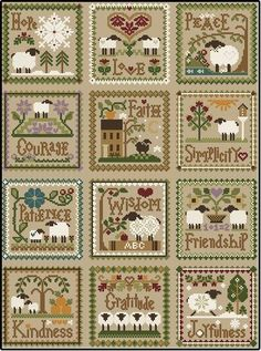 """Diane Williams of Little House Needleworks has created """"Twelve Sheep Virtues"""".  Each month in 2013 she released a sheep virtue pattern; this is the 12 patterns stitched together."""