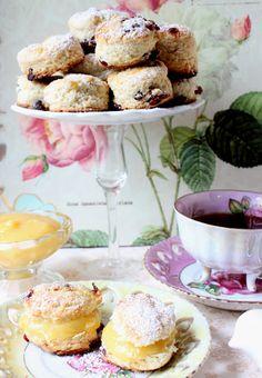 Lemon Zest Cranberry Scones Recipe with Lemon Curd filling.