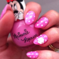 Nails. Cute pink polka dot mani with 3d flower and pearls. Lovely Minnie Mouse Polish sent to me as a gift :) done by me