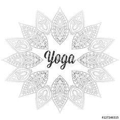 Vector: Vector zentangle Yoga monochrome design, hand drawn template, em