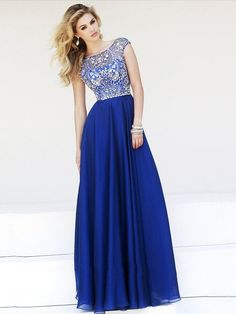 Royal Blue A-line Scoop Neck Tulle Chiffon Beading Cap Straps Prom Dress #prom #party #evening