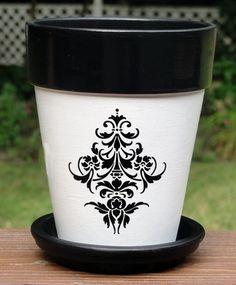 Fleur de Lis Four Inch Flower Pot: *Original Design by ©Ellens Clay Creations/Painted Seasons This flower pot features a black fleur de lis
