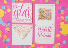 Isla's Confetti-Filled First Birthday Party   Honeycomb, confetti, sprinkles galore!! Invitations by Papellerie. #babysfirstbirthday #islaturnsone