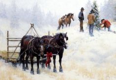 A group of cowboys set out with their horses on a nice winter day to find THE PERFECT TREE. In this print by Jim Rey it looks as though they have found it. This print is available unframed in an image