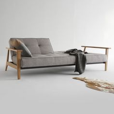 1000€ Innovation Splitback Frej sofa bed W: 2340 H: 790 D: 900 mm, oak/grey - 94-741010521-5-2 | Reuter Onlineshop