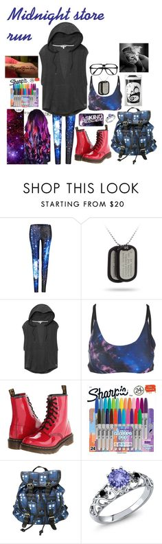 """Midnight Store Run"" by the-real-river-song ❤ liked on Polyvore featuring Victoria's Secret, Onzie, Dr. Martens, Sharpie and ZeroUV"