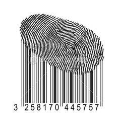 vingerafdruk met streepjescode — Stockbeeld #1614270