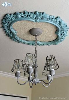 Upcycle an old frame as a ceiling medallion... Rustic Bedroom Lighting