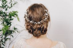 Crystal and pearl hair vine up do