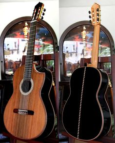 Bellucci Classical Guitar with indented cutaway.  This amazing instrument is made from African Blackwood on the back and sides, and has a Redwood top, Blackwood fingerboard, Cocobolo bindings and a Macassar Ebony decorated bridge.  Plus, the marquetry is incredible.