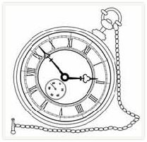 "free digital stamps | objects  Pocket watch/ clock face pattern: ""Don't you think it's time to..?"" Any window/business..."