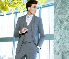 Nothing says 'dapper' like a clean-cut three piecer —Calvin Klein vested suit