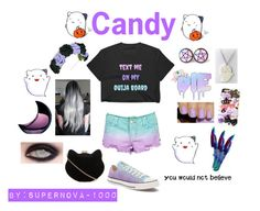 """""""Candy"""" by supernova-1000 ❤ liked on Polyvore featuring Blume, Samsung, Converse, TEN and New Look"""