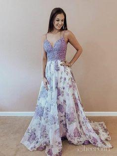a99e69b66f1 Lilac Floral Boho Prom Dresses Spaghetti Strap Junior Prom Dress ARD2073