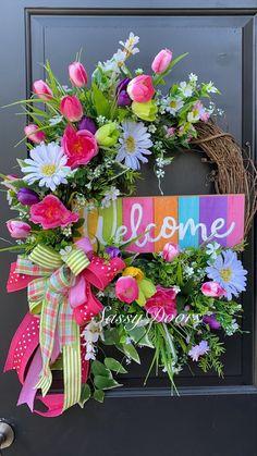Diy Spring Wreath, Spring Door Wreaths, Deco Mesh Wreaths, Diy Wreath, Holiday Wreaths, Easter Wreaths, Floral Wreaths, Advent Wreaths, Wreath Making