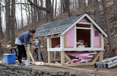 The addition of shingles to the roof and insulation panels inside the walls will keep your chickens warm and dry. Photo: Matthew Bushlow/