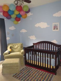 5 individual cloud stencils create a cloud wall mural in your baby nursery or kids room no artistic skill required self-adhesive feature makes stenciling a cin Disney Themed Nursery, Girl Nursery Themes, Baby Boy Nurseries, Room Themes, Pixar Nursery, Disney Baby Nurseries, Nursery Ideas, Monsters Inc Nursery, Clouds Nursery