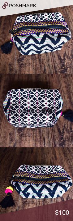 EMBROIDERED BAG Tapestry Bohemian Makeup Clutch One Size. New in packaging.    • Beautiful tribal inspired accessory bag featuring ethnic embroidered patchwork detailing throughout & tassel accent on zipper.  • Full zip closure at top.  • Perfect to use as a small clutch or makeup bag; dressing up or down.  • Hand-made.  • Inside is fully lined; no pockets.      {Southern Girl Fashion - Closet Policy}   ✔Bundle discount: 20% off 2+ items.   ✔️ Items are priced to sell. Offers not accepted…