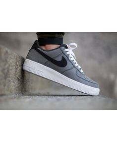 premium selection 825a5 23279 Nike Air Force 1 Low Grey Canvas Trainers