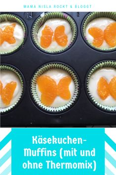 Cheesecake Muffins - Super tasty and fresh and great to take away. With and without Thermomix. Simple Muffin Recipe, Healthy Muffin Recipes, Healthy Muffins, Healthy Eating Tips, Muffins Sains, Baby Muffins, Vegetable Drinks, Cheesecake Recipes, Thermomix Cheesecake