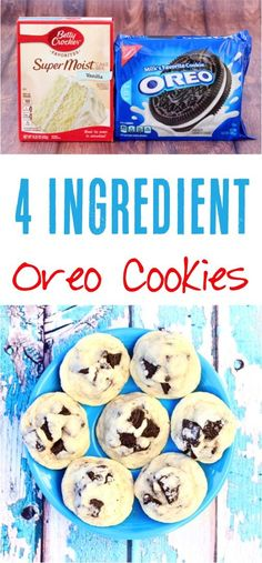 Oreo Cookie Recipes! This easy Oreo Cake Mix Cookie Recipe is such a fun twist on your favorite classic cookies! Just 4 Ingredients! | NeverEndingJourneys.com