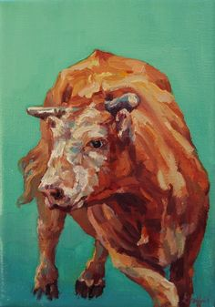 "Western Art International: Colorful Contemporary Animal Art,Bovine Painting ""Dante"" by Contemporary Animal Artist Patricia A. Griffin"