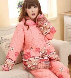 Winter new arrival,best selling,free shipping,warm fleece 100% cotton,flannel fabric,sleeping wear set,big size sleepwear sets-in Pajama Set...