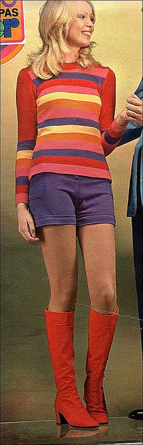 1970 hot pants and boots - no matter the weather where I lived, it was all about the hot pants