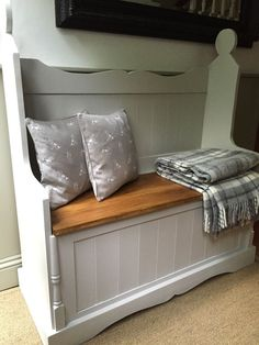 Handmade and painted monks bench in F&B grey