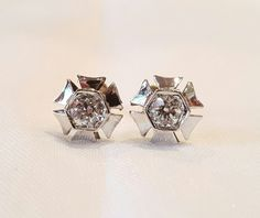 #436 Hand Crafted 14k White Gold .95ct Old European Diamond Earrings