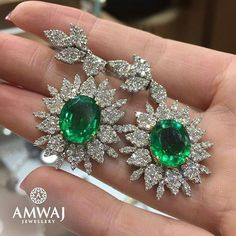 @amwaj_jewellery. These gorgeous emerald earrings with diamonds will do...