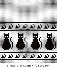 Portfólio de Gala titmouse no Shutterstock Baby Knitting Patterns, Knitting Stiches, Crochet Patterns, Cat Cross Stitches, Cross Stitch Patterns, Fair Isle Chart, Bead Loom Patterns, Fair Isle Knitting, Cat Pattern