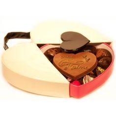 Dites-le lui.. avec du chocolat ! Boite chocolat belge luxe en coeur brillant pour les amoureux.
