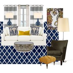 Navy and Gold Living Room Navy Living Rooms, Living Room Colors, Formal Living Rooms, Living Room Designs, Living Room Decor, Living Room Update, Home And Living, Living Room Inspiration, Furniture Inspiration