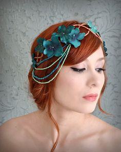 Hey, I found this really awesome Etsy listing at https://www.etsy.com/listing/177430642/teal-flower-crown-flapper-headdress