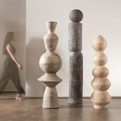 The Andre Totem by Lemieux & Cie is a beautiful oversized sculptural totem that will transform any space. Whether used alone or in multiples, this sculptural pillar will create a gorgeous roomscape. Indoor use only. Wood Sculpture, Wall Sculptures, Beginner Pottery, Large Scale Art, Bamboo Design, Industrial, Interior Accessories, Wood Turning, Dark Grey