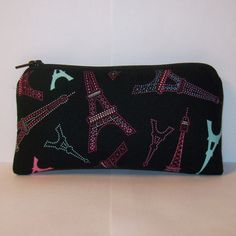 """Pipe Pouch, Eiffel Tower Pouch, Pipe Case, Pipe Bag, Girly Pouch, Paris Gift, Padded Pouch, Small Purse, Glass Pipe Cozy, Pouch - 5.5"""" SMALL by PouchAPalooza.com"""